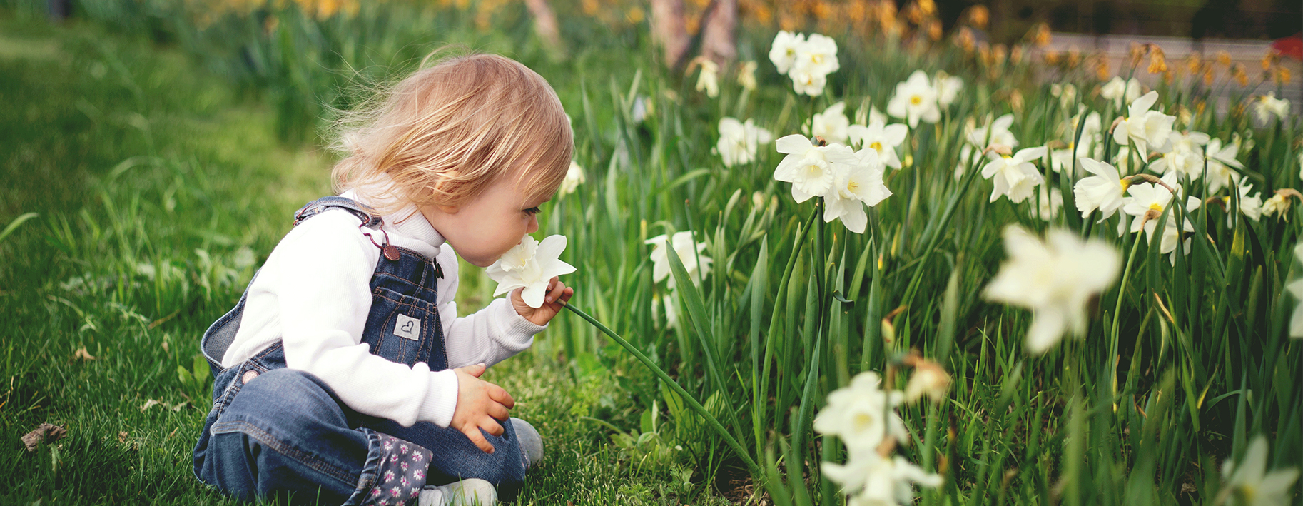 Young Girl playing in flowers