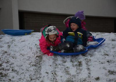 Children Sleding down a Hill